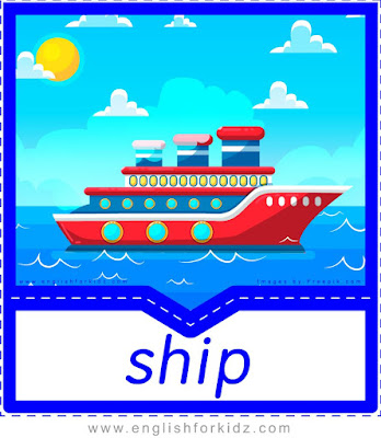 Ship printable transportation flashcard with picture