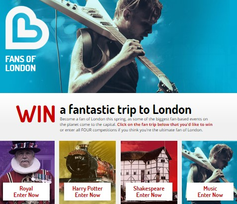Visit London wants you to enter to win a London trip of YOUR dreams, where you get to choose from a Royal trip, a Harry Potter themed trip, a Shakespearean trip or a rockin' music trip!