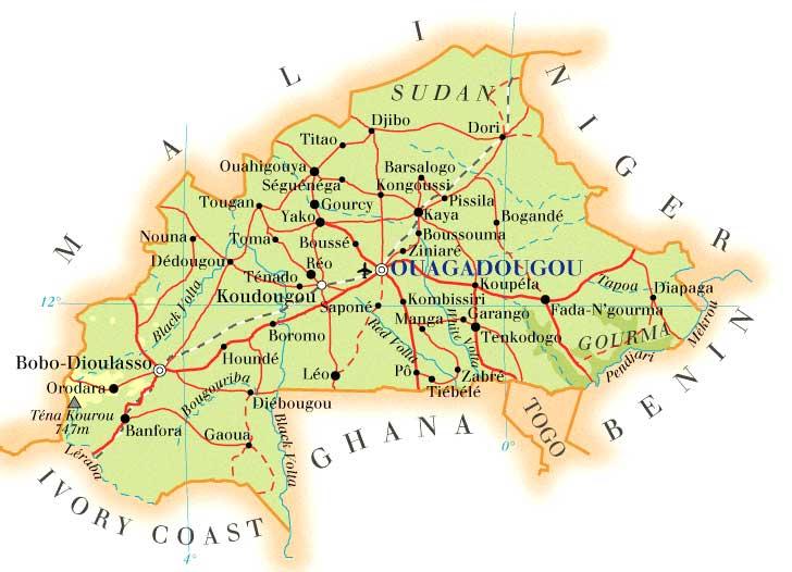 Burkina Faso | Mapas Geográficos de Burkina Faso