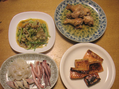夕食の献立 献立レシピ 飽きない献立 ハラス西京焼 鶏の酢焼 ヒモキュウ他