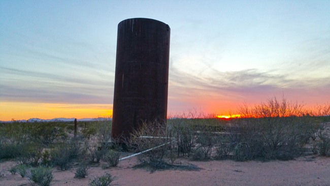 Silo near Abandoned adobe House Ruins in Dateland, Arizona
