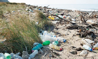 plastic bottles, plastic waste, plastic on beach