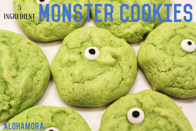 Easy Monster Cookies from a Cake Mix.  These cookies take 10 minutes, or less to make.  These Monster Inc cookies look so much like Mike Wazowski that they make me laugh inside.  Alohamora Open a Book  cookies, easy, cake fun,