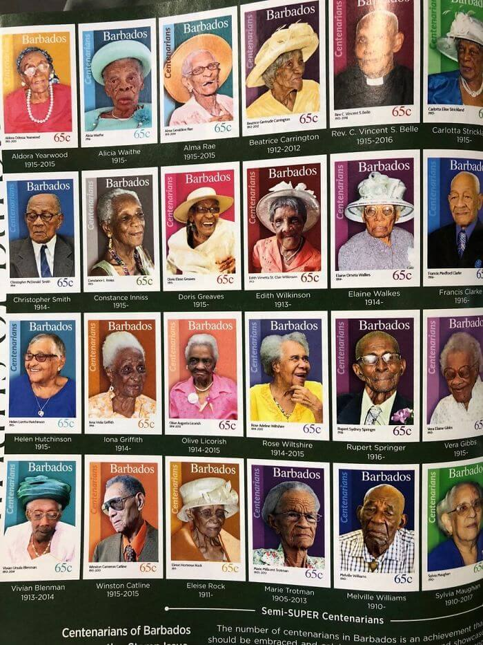 30 Heartwarming Photos That Restored Our Faith In Humanity - When You Reach 100 Years Old In Barbados, You Get A Stamp In Your Honour. Lovely