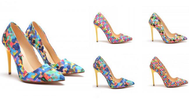 pantofi stiletto cu imprimeu colorat
