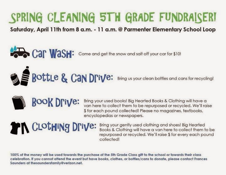 Spring Cleaning 5th Grade Fund raiser - Parmenter School - Apr 11 8:00 AM to 11:00 AM