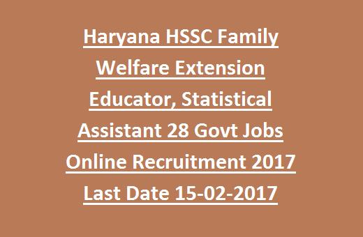 Haryana HSSC Family Welfare Extension Educator, Statistical ...