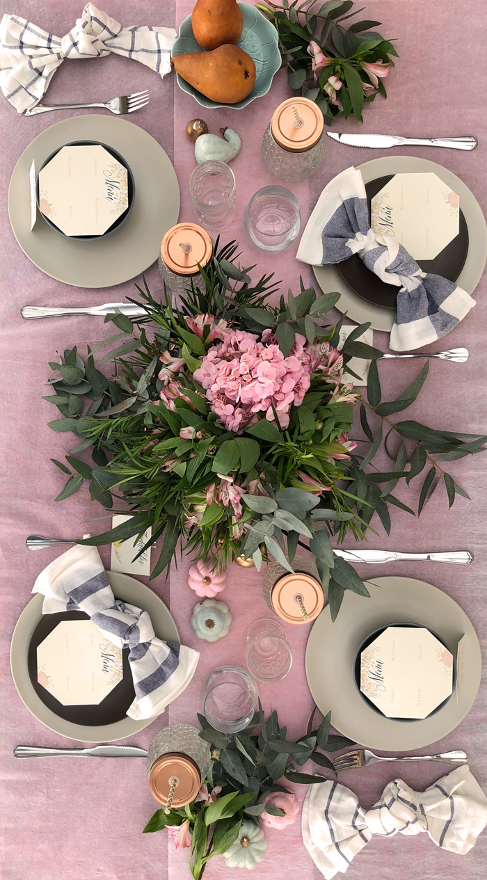 Valentina Vaguada: eucalipto, hydrangea, table setting, pastel table, tableware, thanksgiving, thanksgiving table, table set, party planner, dinner