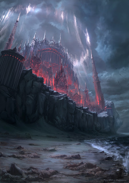 dark fantasy environment at night with magic