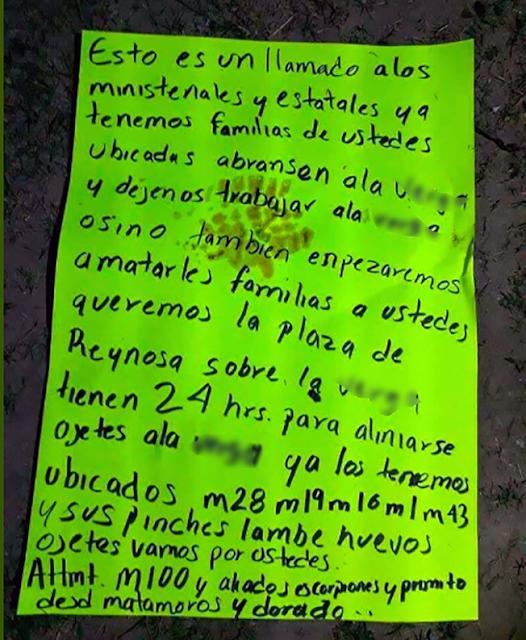 """AMENAZA el CARTEL del GOLFO con MATAR FAMILIAS de """"MINISTERIALES y ESTATALES"""" en REYNOSA"""