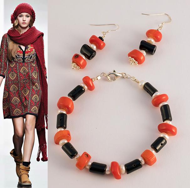 orecchini e bracciale corallo rosso bambù di mare,corallo nero perle di fiume