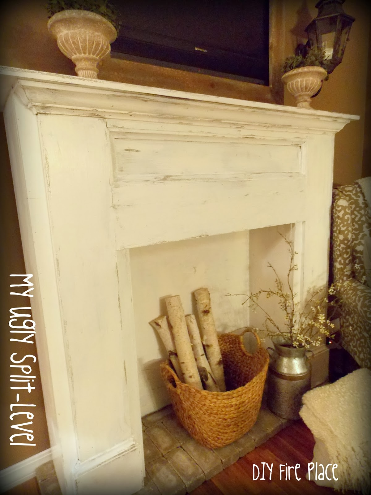 My Ugly Split Level Entryway: My Ugly Split-level: Living Room Update DIY Fireplace