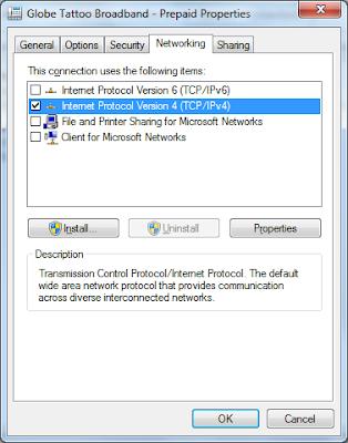 IP v4 networking tab setting