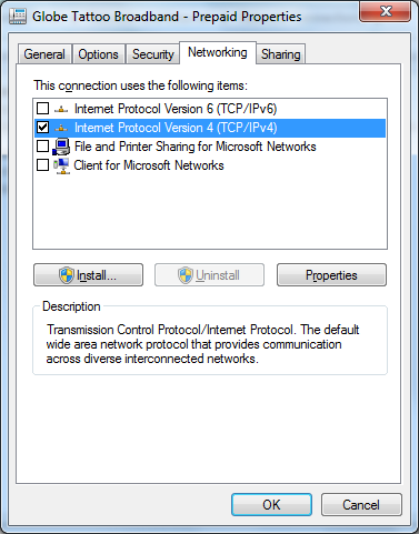 IP v4 networking tab setting