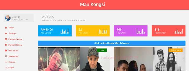 Dashboard Mau Kongsi