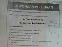 Lowongan Kerja PT SEC INDONESIA (Welding & Stamping)