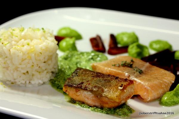 Fisch mit Kräutersoße und Zitronenreis
