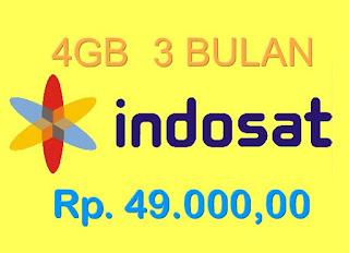 Paket Data Internet Indosat - 4Gb 3Bulan cuma 49Ribuan