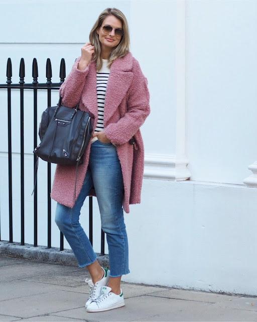 toyshop pink boucle coat, statement coat, striped jumper, balenciaga bag