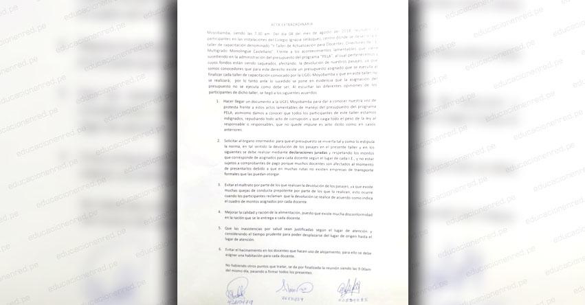 Desvío de fondos por más de 70 mil soles del PELA - DRE San Martín, no habría permitido pagar gastos de capacitación a docentes