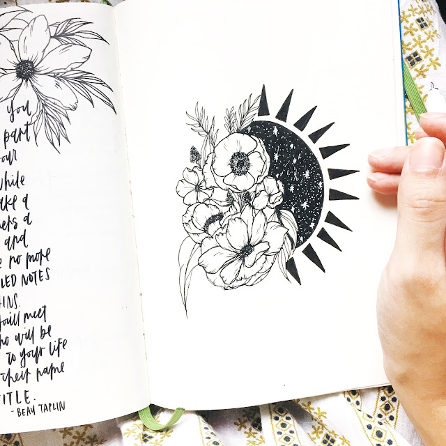 bullet journal floral sun illustration