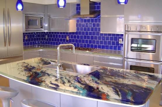 luxury glass kitchen countertops design ideas