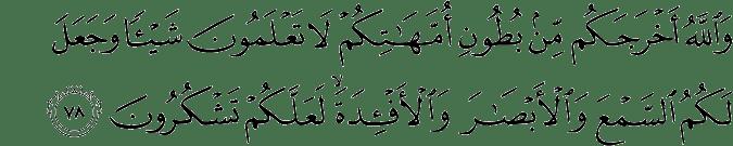 Surat An Nahl Ayat 78