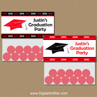 Printable red & black graduation bag toppers for the class of 2016