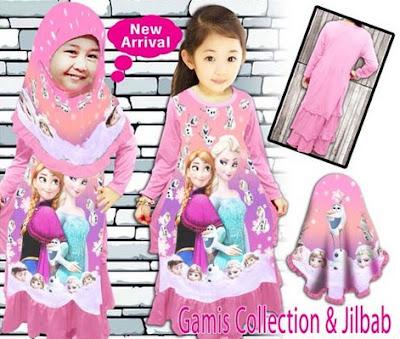 Model Baju Muslim Frozen Untuk Anak Perempuan Terbaru