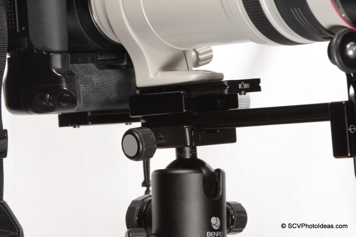 Versatile LLSB on ball head clamp orientation - closeup