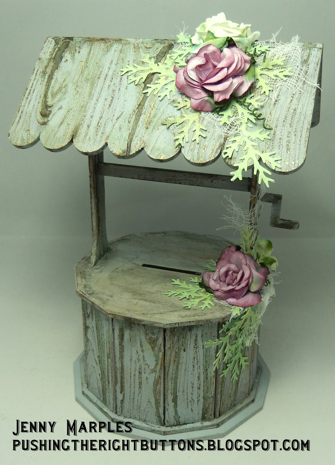 First up a brand new Wishing Well money box and I went all out on the faux woodgrain and distressing for this; & Pushing The Right Buttons: Fun with Candy Box Crafts Aboutintivar.Com