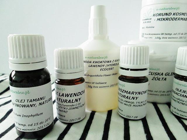 olej tamanu, olej rozmarynowy, olej lawendowy