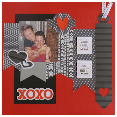 Huggs and Kisses Scrapbook page Layout. Red black white paper. ribbon. Silhouette Cameo. Craft. Single page. hearts hugss and kisses.  Create. Yana Fourie. Eccentric Eclectic Studio.