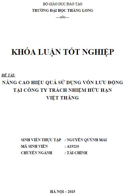 Nâng cao hiệu quả sử dụng vốn lưu động tại Công ty TNHH Việt Thắng