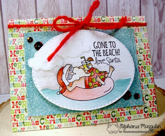 Santa's Gone to the Beach Christmas Card by Stephanie Muzzulin | Sun Soaked Christmas Stamp set by Newton's Nook Designs #newtonsnook