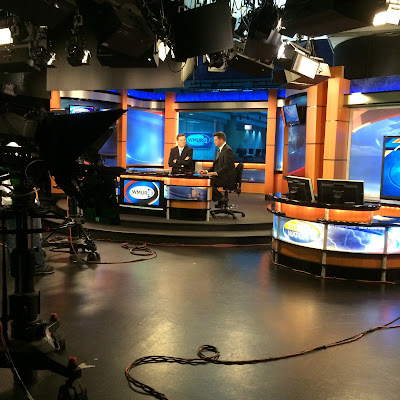 On set for the Noon newscast