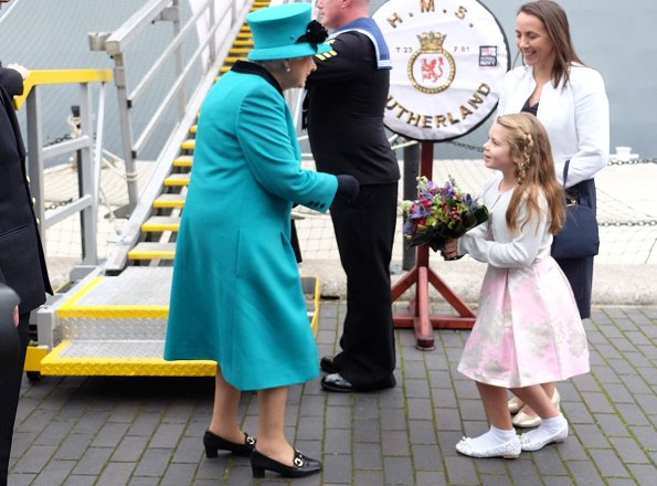Queen Elizabeth visited HMS Sutherland in the West India Dock as the ship celebrates its 20th anniversary of her Commissioning