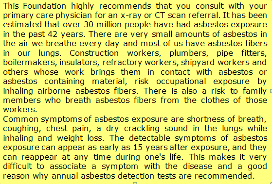 symptoms of asbestos exposure