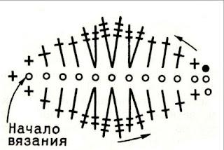 листик крючком, схема