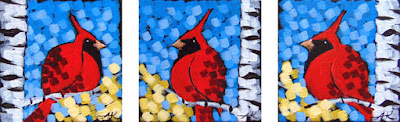 cardinals in gold painting by duluth artist aaron kloss, painting of cardinals, triptych, pointillism, duluth painter, duluth art