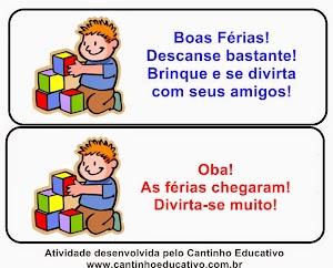 CARTÕEZINHOS DE BOAS FÉRIAS
