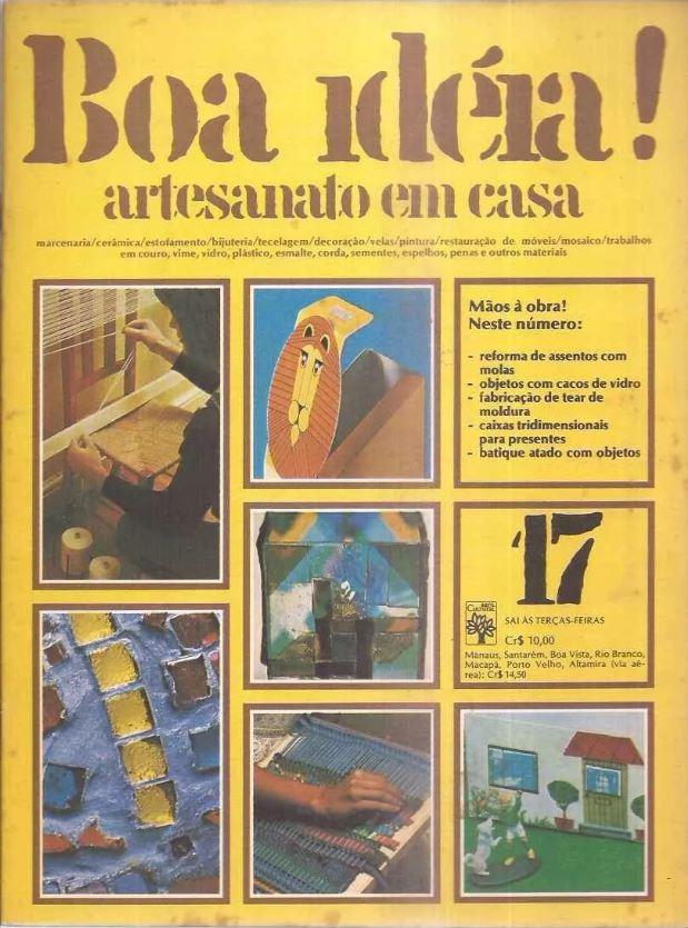 Propaganda da coleção de fascículos para fazer artesanato em casa apresentado na metade dos anos 70
