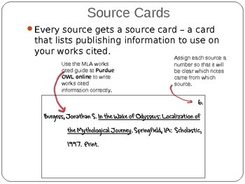 Mrs Agate's Class MLA Format Source Cards