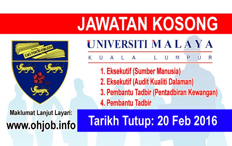 Jawatan Kerja Kosong Universiti Malaya (UM) logo www.ohjob.info februari 2016