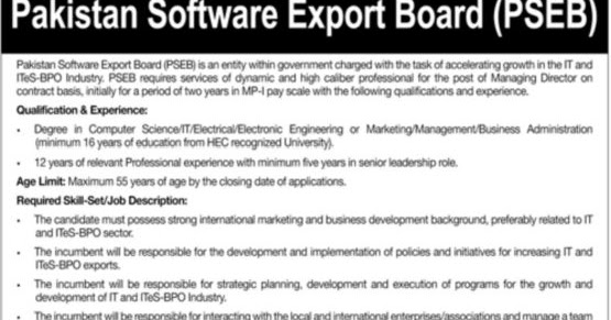 Pakistan Software Export Board Jobs 2019