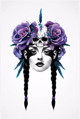 Ilustración de rostro de mujer con flores