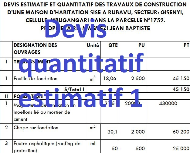3 Exemples De Devis Quantitatif Estimatif Batiment En Excel Cours Genie Civil Outils Livres Exercices Et Videos