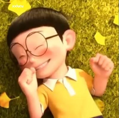 nobita bernyanyi dengan doraemon