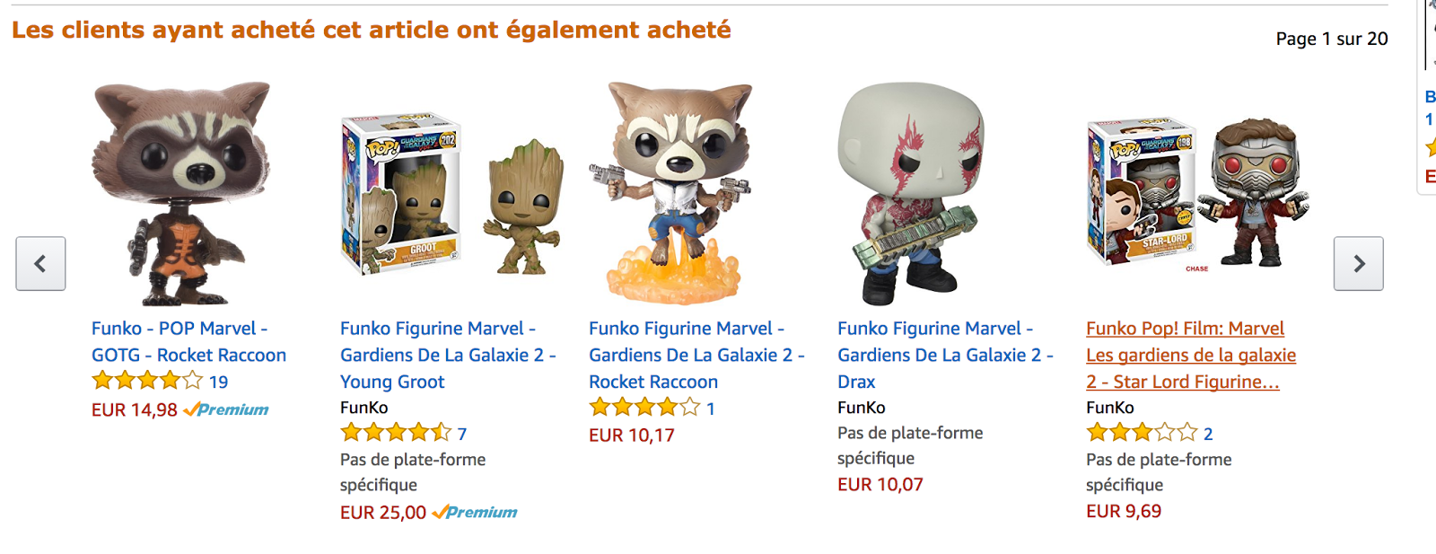 Amazon présente d'autres produits qui intéressent le même type de clients