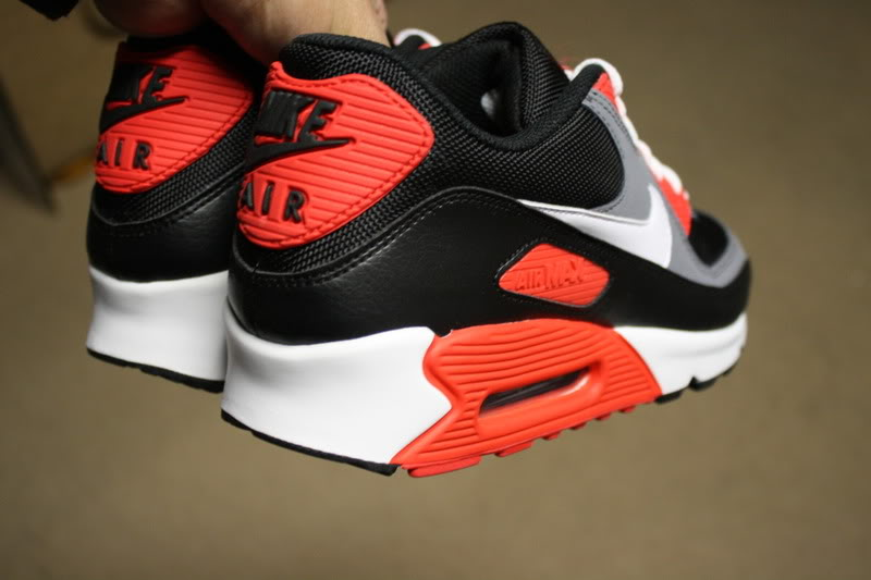 low price nike air max 90 black white flint grey hot red